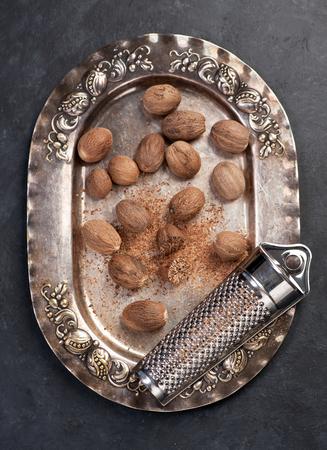 Nutmeg on vintage plate