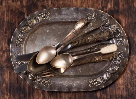 vintage cutlery: Vintage silver plate, forks, spoons and knives.� Vintage cutlery