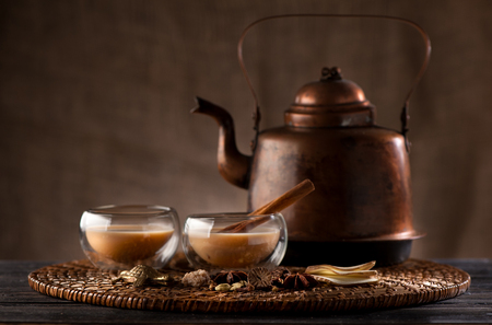 masala chai with spices and spicy Stock Photo