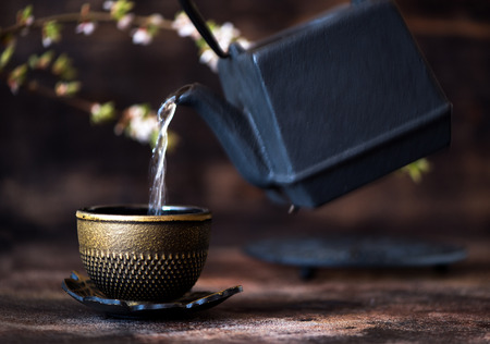 herbalism: Black cast iron kettle and a cup. Tea Asian concept Stock Photo