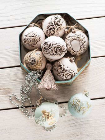 Christmas balls Christmas toys in vintage box. new year holiday celebration greeting card