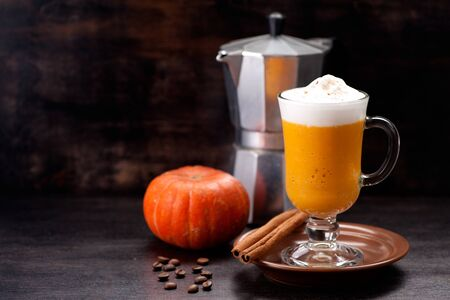 Pumpkin Spicy Latte Smoothie and space for text