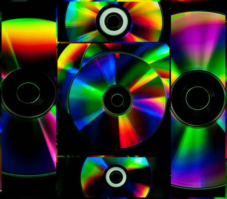 Collage colorful CD and DVD computer disks Standard-Bild