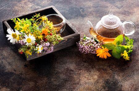 Herbal tea with healing herbs. Medicinal Herbs and Flowers