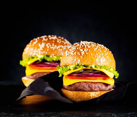 Fastfood burgers cheeseburgers with cutlet, cheese and vegetables