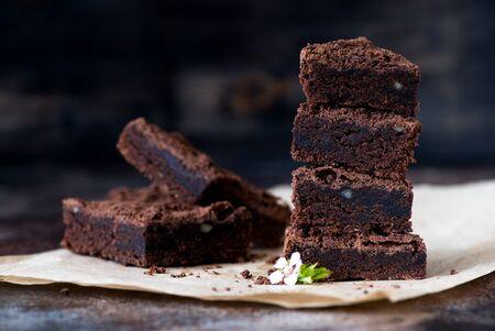 Chocolate brownie close-up