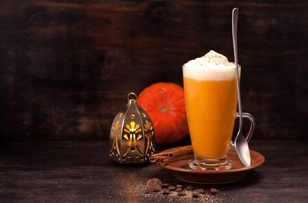 pumpkin latte smoothie with spices and spicy