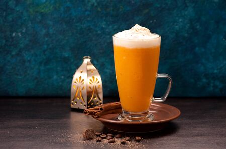 pumpkin latte smoothies with spices and spicy