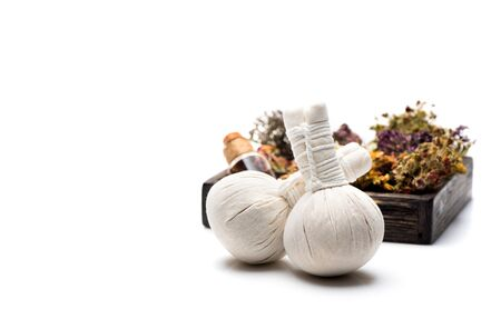 Spa herbal compress balls and herbs