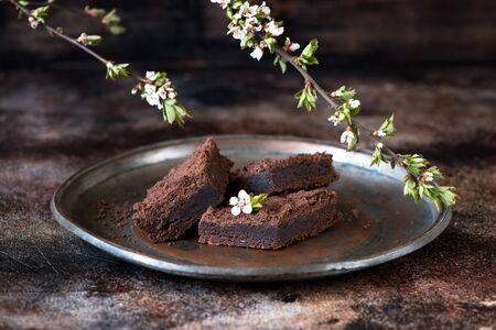 Chocolate brownie cake slices