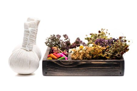 Thai Herbal Compress Massage, incense and dried herbs for spa Stok Fotoğraf