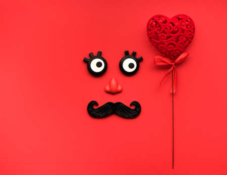 Funny face men with red heart. Happy Valentines day. Love greeting card Stockfoto