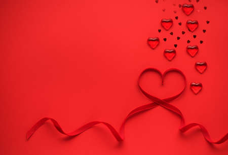Red heart of red ribbon. Valentines day greeting card festive background copy space