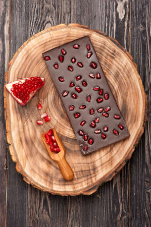 Handmade chocolate with pomegranate fruit