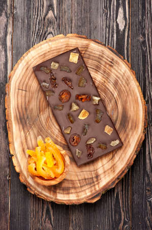 Handmade chocolate with dried fruits and berries