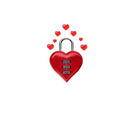 Closed heart shaped padlock isolated on white