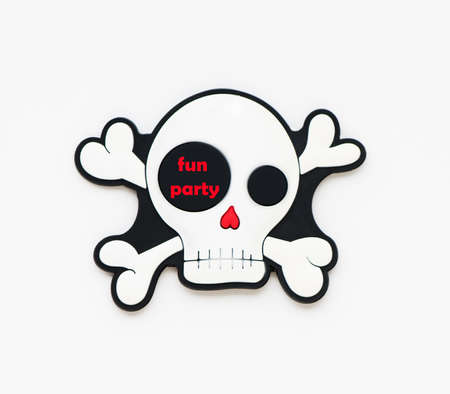 Minimal holiday fun spooky concept. funny skeleton and bones with inscription fun party