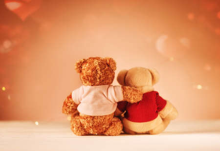 Happy Valentine's Day Creative greeting card. Teddy Bears, love, hugging, date. Family, wedding, friendship concept Stockfoto
