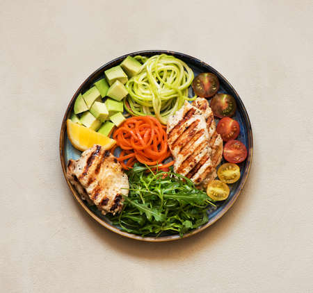Buddha bowl salad with grilled turkey, arugula, avocado, carrots and zucchini, balanced clean eating, top view. Healhty lunch bowl. Balanced food concept. Stockfoto