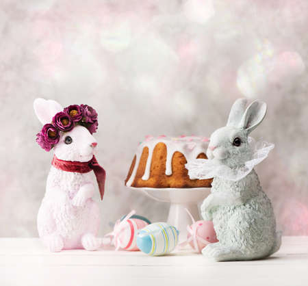 Happy Easter cards with beautiful bunnies, Easter cake and colorful eggs