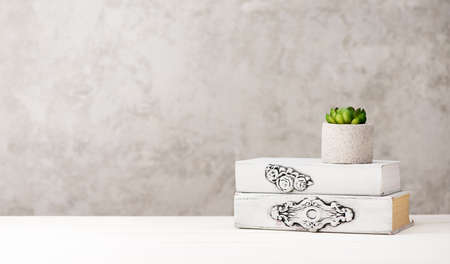Old books and flower in concrete vase on a wooden table with copy space