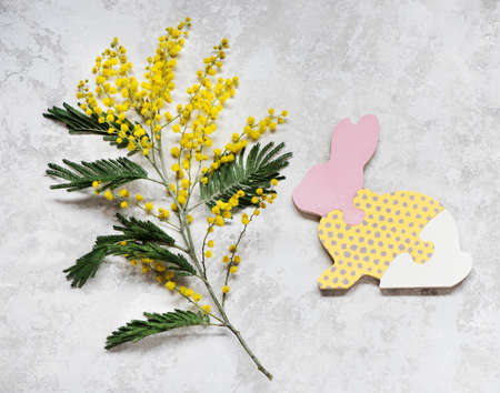 Easter bunny and spring yellow flowers on a gray background, top view. Easter card Stockfoto