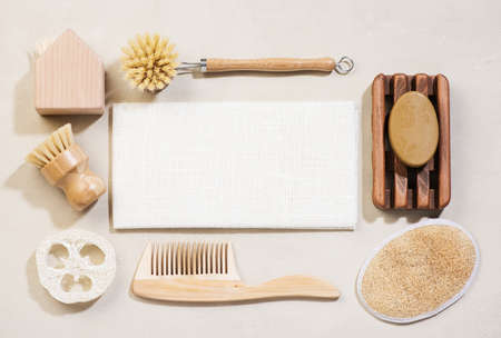 Eco friendly cleaning products. Zero waste, lifestyle bathroom and cleaning accessorie. Top view, flat lay.