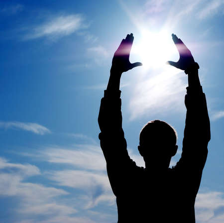 Sun in hands. Element of design. Stock Photo - 6288057