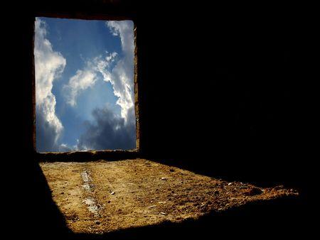 Window to unknown. Element of design. photo