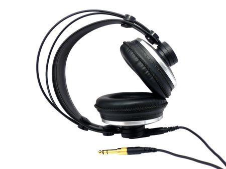 Professional headphones for monitoring audio. Element of design. photo