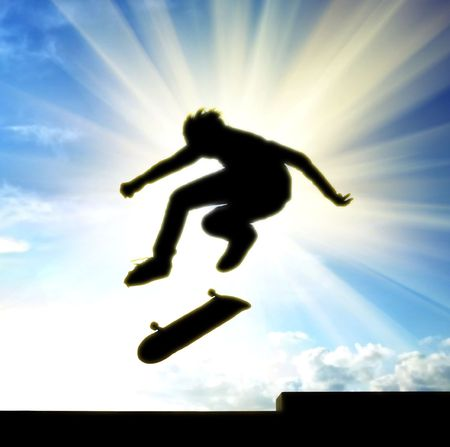 Stunt of skater. Element of design. photo
