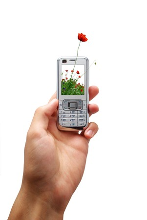Mobile phone of ecology. Element of design. Stock Photo - 7555700