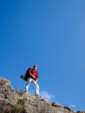 Man in mountain. Element of design. photo