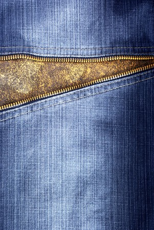 Texture of jeans with zipper. Element of design. photo