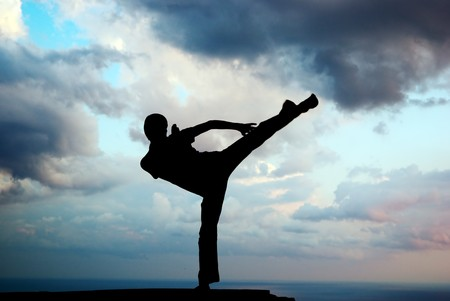 Kung fu at the edge. Element of design. photo