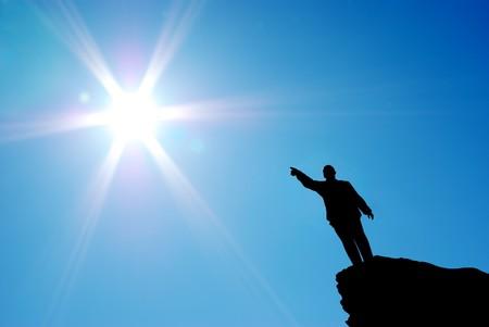 Man direct to the sun. Conceptual design. photo