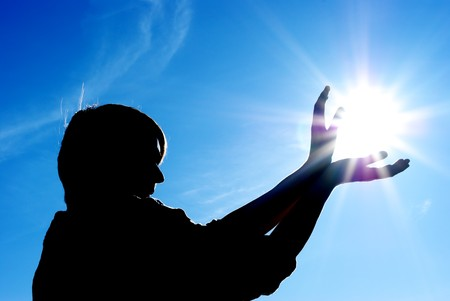 eternal life: Man control the sun. Conceptual design. Stock Photo