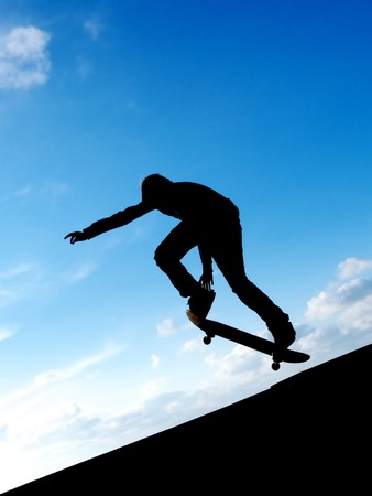 Skater in sky. Element of design. photo