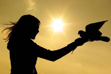 pigeons: Fille et pigeon au coucher du soleil.