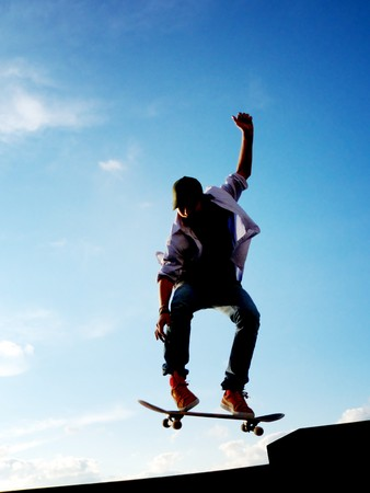 skatepark: Skater jump to sky. Element of design. Stock Photo