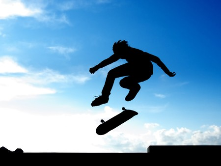 skateboarder: Stunt of skater. Element of design. Stock Photo