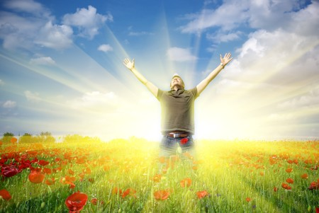 light god: In poppy field. Emotion scene.
