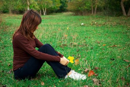 Girl in sadness. Emotional scene.  photo