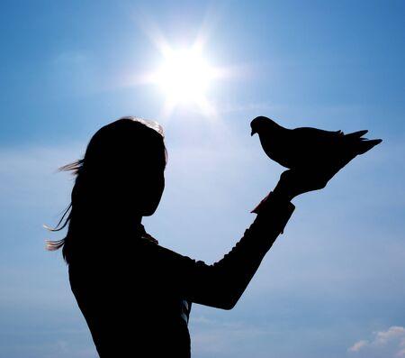 S ilhouette of girl and bird. Element of design. Stock Photo - 7877960