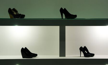 Shoping: Shelf with shoeses. Element of design. Stock Photo