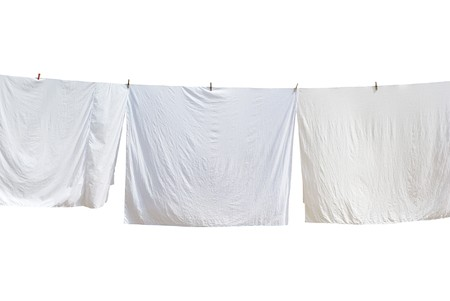 clothes line: White laundry. Element of design.