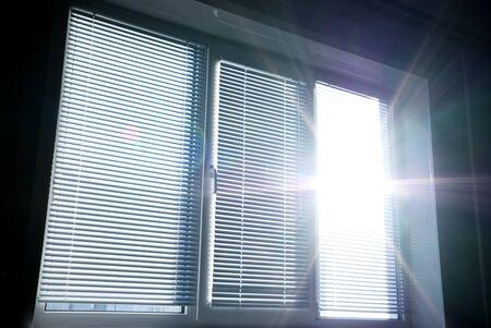 window light: Big window and Sun. Element of design. Stock Photo