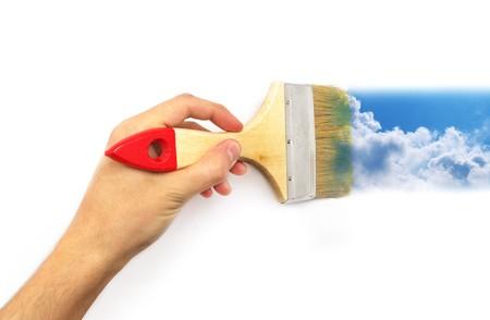 Hand paint the sky. Conceptual design. photo