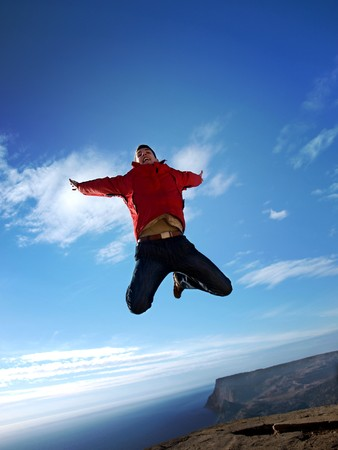 high life: Man in sky. Emotional scene. Stock Photo