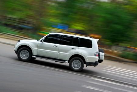 car speed: Car on speed. Dynamic scene.